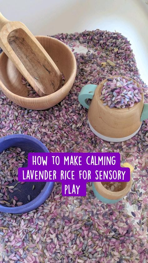 How to make calming lavender rice for sensory play