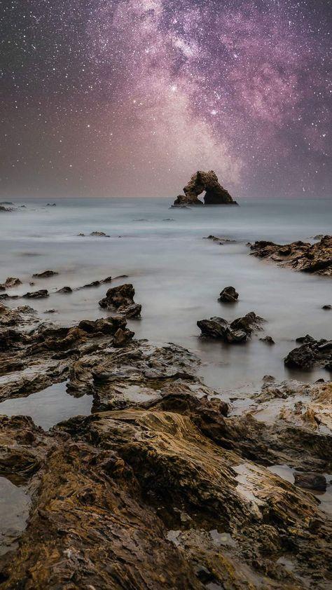 Starry Sky Ocean Rocks - iPhone Wallpapers