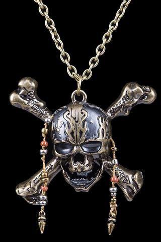 Collier Pendentif Pirates des Caraïbes crâne capitaine Jack Sparrow bijoux nouveau