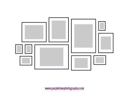 Picture frame arrangements | Picture frame arrangements, Purple trees and  House