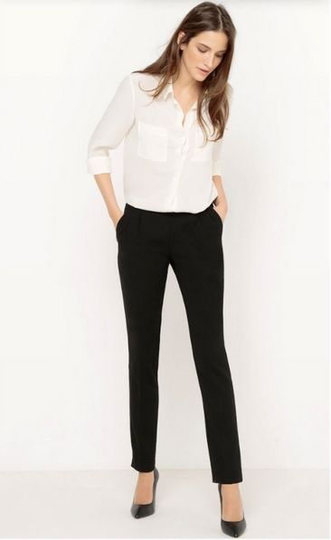 Image result for formal white shirt and black pant for women (With