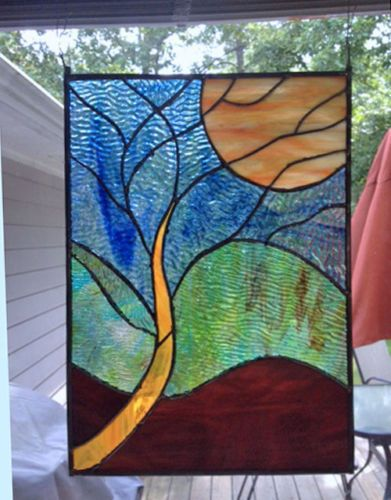 Stained Glass Panel SALE PRICED Tree And Moon Stained Glass Unique Stained Glass Patterns For Sale