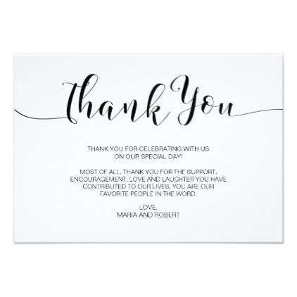 Minimalist Calligraphy Wedding Thank You Card Zazzle Com With