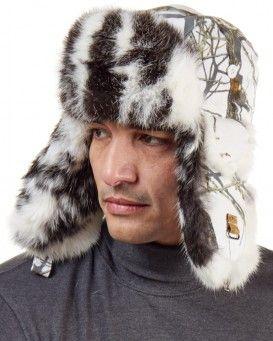 36becf893 Buffalo Check Rabbit Fur Aviator Hat for Men in 2019 | Fur hats ...