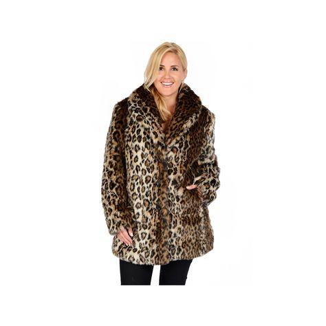 27a1224c33101 Plus Size Excelled Leopard Faux-Fur Coat