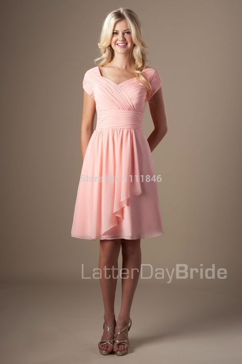 70eccdbe115 Find More Bridesmaid Dresses Information about Flowy Chiffon With Cascading  Ruffle Coral Bridesmaid Dress Short Sleeves Custom Made Dresses To Wedding  Party ...