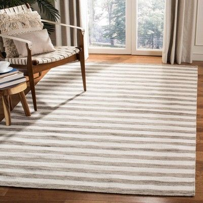 Roland Dhurrie Area Rug Brown Ivory