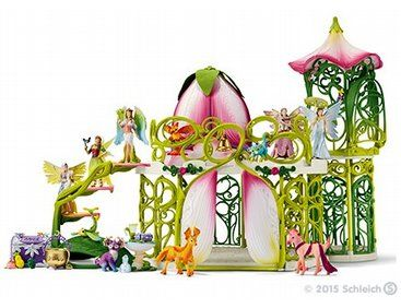 Fantasy Bayala 42445 SCHLEICH Glittering flower House with Unicorns /& Stable