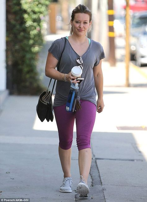 Putting in the leg work: Hilary Duff showed off her toned pins in skintight leggings as sh...
