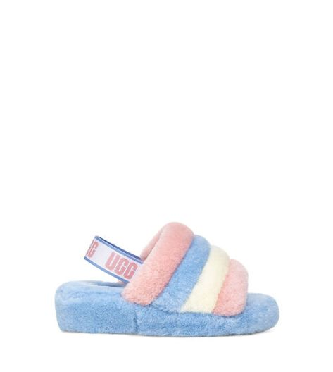UGG Pride Collection - Fluff Yeah Slide in Pride Stripes Sheepskin Boots, Cute Uggs, Fluffy Shoes, Fluffy Sandals, Cute Slippers, Hype Shoes, Fresh Shoes, Golf Fashion, Little Girl Fashion