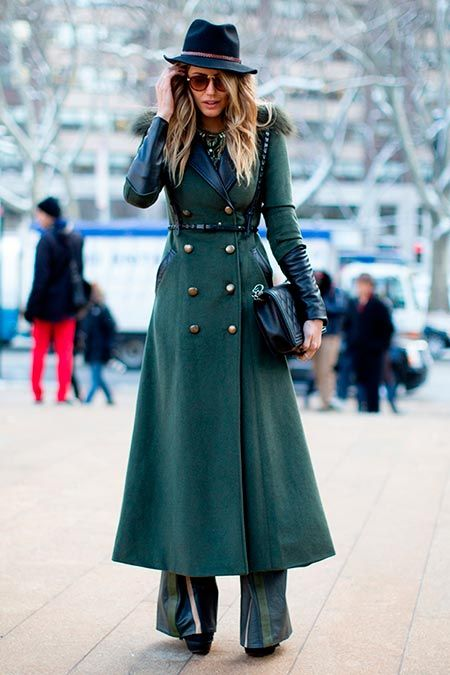 Best street style: New York Fashion Week Fall 2014 // This full-length forest green trench coat is one you can truly wear forever.