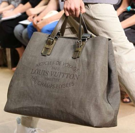 Louis Vuitton Denim Bag - With this stylish Louis Vuitton Articles De Voyage Cabas Denim men's bag, guys can now carry their essentials with style.   Sylish with a mili...