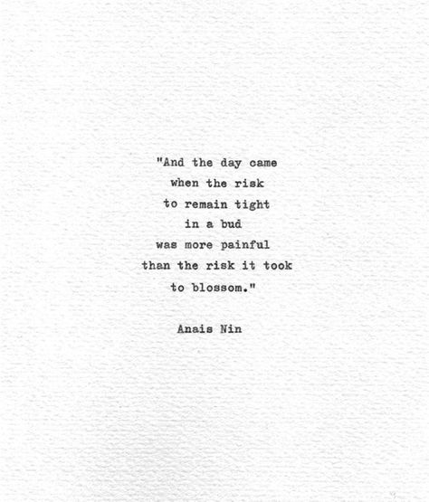 "Anais Nin Hand Typed Letterpress Print ""...the risk it took to blossom"" Vintage Typewriter Literatur"