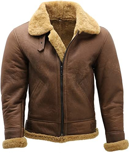 Mens Flying Pilot Aviator Diagonal Zipper Faux Fur Shearling Brown Leather Jacket