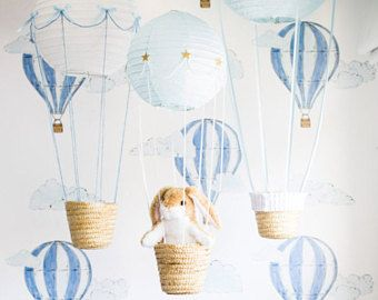 8747ff5e5c276 Watercolor Air Balloon Removable Wallpaper / Traditional or Self ...