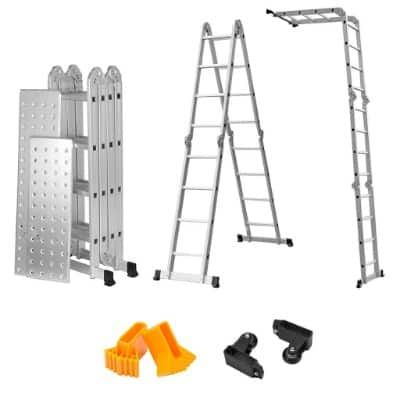 Finether 15 4ft Heavy Duty Multi Purpose Aluminum Folding Extension Ladder Ladder Multi Construction Materials