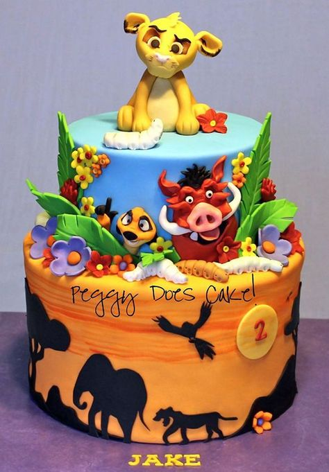 Lion King birthday cake But have to admit this would be for my own birthday. Yes I might be but I love the lion king! Fancy Cakes, Cute Cakes, Crazy Cakes, Fondant Cakes, Cupcake Cakes, Lion King Birthday, Lion Guard Birthday Cake, Lion King Cakes, 2 Birthday Cake
