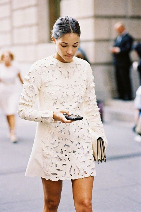 Vanessa Jackman in White Lace, New York Fashion Week SS 2015