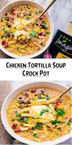 This slow cooker tortilla soup is an easy tex mex slow cooker dinner that everyone loves! It's seriously good! This slow cooker tortilla soup is an easy tex mex slow cooker dinner that everyone loves! It's seriously good! Slow Cooker Tortilla Soup, Creamy Chicken Tortilla Soup, Slow Cooker Creamy Chicken, Slow Cooker Soup, Slow Cooker Recipes, Crockpot Chicken Enchilada Soup, Chicken Cooker, Chicken Tortilla Crockpot Soup, Soup With Rotisserie Chicken