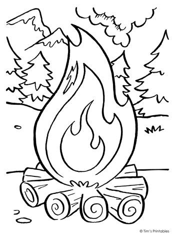 Campfire Coloring Page Tim S Printables Coloring Pages In 2019