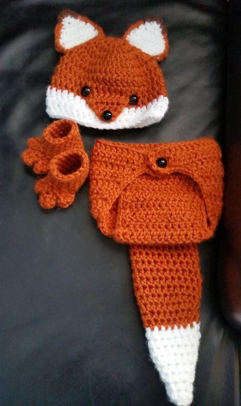 Crochet Newborn Fox Outfit - Baby Girl or Boy Woodland Costume - Photo Prop - Beanie Hat, Diaper Cov