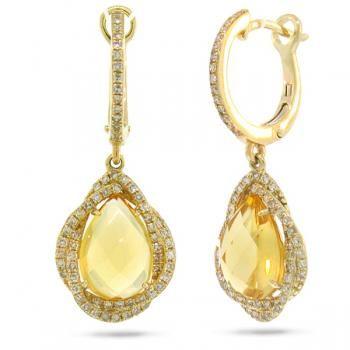Solid 14k 18k Golden Citrine Jumbo Teardrop Designer Earrings