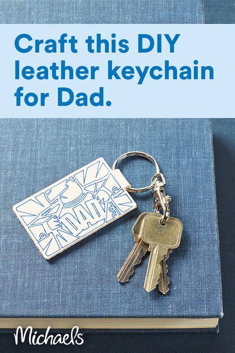"Cricut® ""Super Dad"" Leather Keychain"