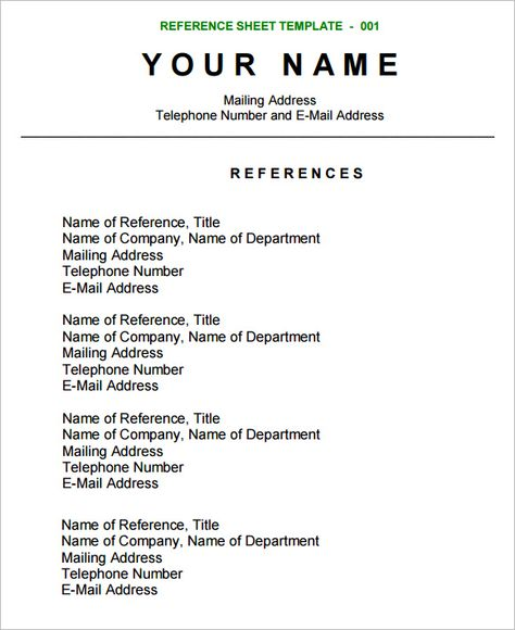 The Right (and Wrong) Way to Ask Someone to be a Reference Turns - references sheet template