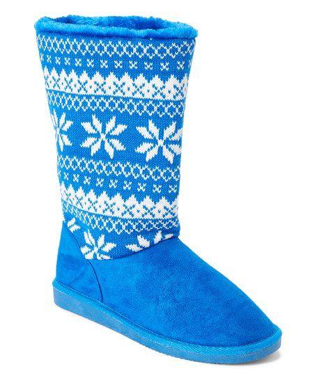 Ameta Royal Blue Fair Isle Honey Boot