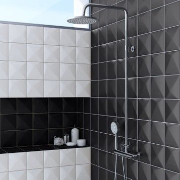 Faience Mur Noir Summit L 15 X L 15 Cm Carrelage Mural Faience Mur Noir