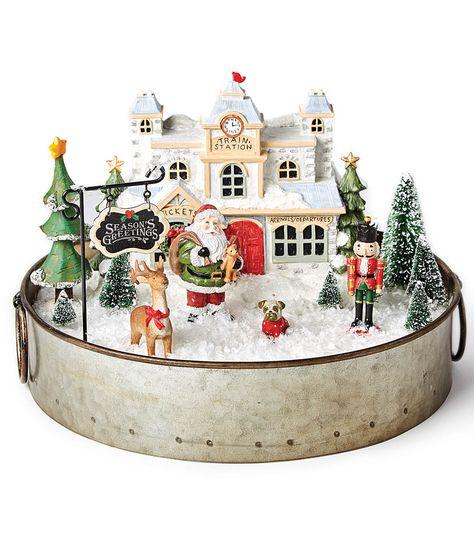 vintage christmas Make a Holiday Littles Container Vintage Christmas Crafts, Retro Christmas Decorations, Christmas Village Display, Christmas Villages, Christmas Centerpieces, Christmas Projects, Holiday Crafts, Christmas Scenes, Noel Christmas