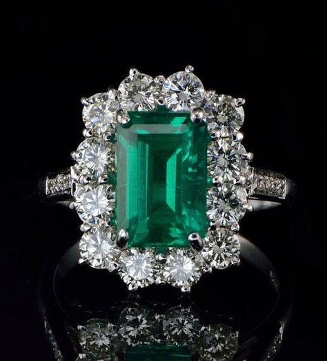 Superior natural Colombian emerald and diamond by hawkantiques, £7250.00