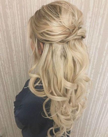 Trendy Wedding Hairstyles Half Up Half Down With Viel Straight Ideas Half Up Curls Long Hair Styles Hair Styles