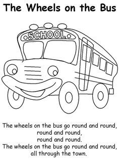 Wheels On The Bus Coloring Page School Bus Crafts Wheels On The