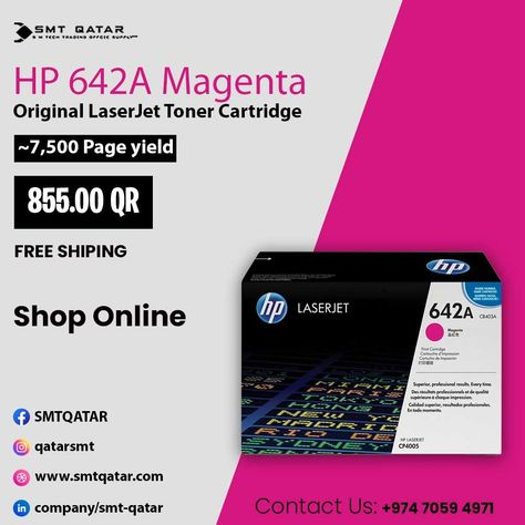 HP 642A Magenta Original LaserJet Toner Cartridge with free shipping all over Qatar.