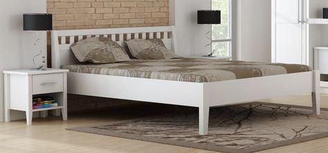 Holzbett weiß  PAULA Doppelbett Bett 160x200 Art 7016-WE Kiefer massiv weiss ...