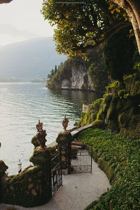 Gate opens to Lake Como (Lago di Como), Lombardy, Italy. Nature Aesthetic, Travel Aesthetic, Italy Travel, Italy Vacation, Italy Trip, Greece Travel, Lac Como, The Places Youll Go, Places To See