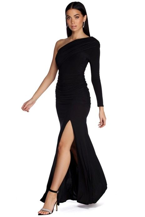 Keep It Classically Elegant In An Always Chic Black Dress Maia Features A One Shoulder Neck Black One Shoulder Dress Dress Hairstyles Black Dress With Sleeves