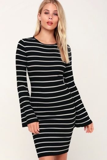 44++ Black and white striped long sleeve bodycon dress ideas in 2021