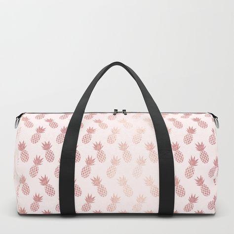 b138ae0b413c Rose Gold Pineapple Pattern Duffle Bag