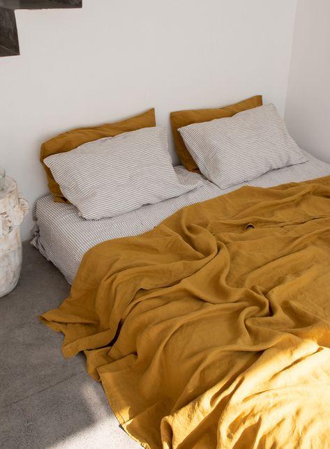 Mustard French Linen Bedding Pure Linen Bedding French Linen Sheet Linen Duvet Covers