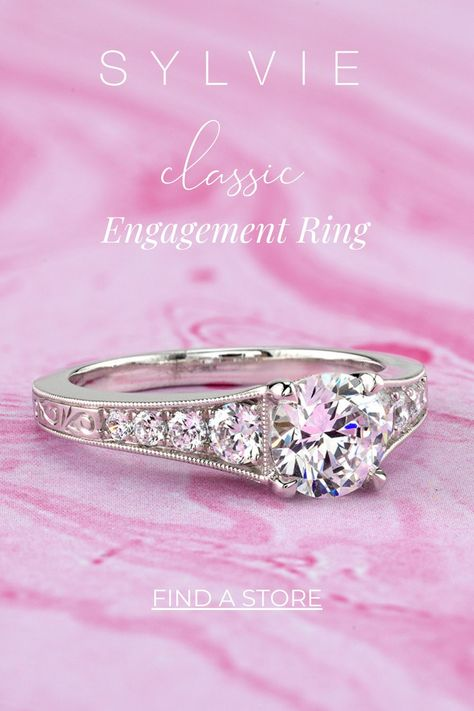 Solitaire Engagement Ring Set  Vintage engament ring Round Wedding Ring Set  Petal Vintage Ring Ring under 200 Art Deco Ring Nesting ring