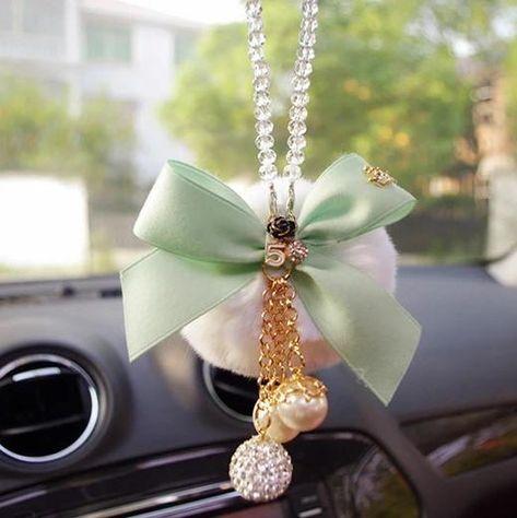 Swan Car Mirror Pendant Car Interior Jewelry Bowknot Decor Hanging Ornament