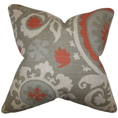 """The Pillow Collection Wella Cotton Throw Pillow Color: Gray Red, Size: 24"""" x 24"""""""