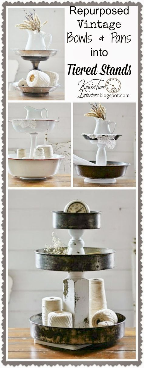 Repurposed Vintage Bowls and Pans into Tiered Stands via KnickofTime.net