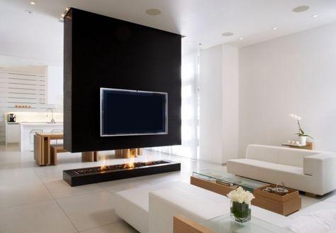 Trennwand bei offener Raumgestaltung-minimalistische möbel-bio - offene küche wohnzimmer trennen