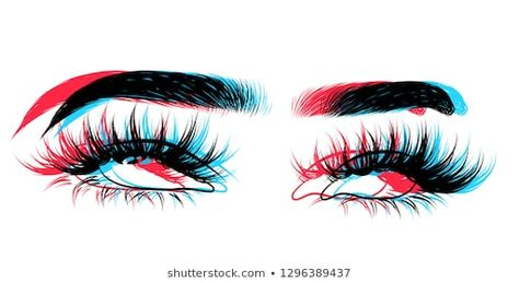 Abstract fashion illustration of the eye with glitch effect. Hand drawn vector idea for business visit cards, templates, web, salon banners,brochures. Natural eyebrows and glam eyelashes
