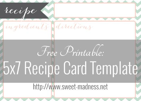 Beautify Your Recipe Box With This Free 5x7 Recipe Card Template