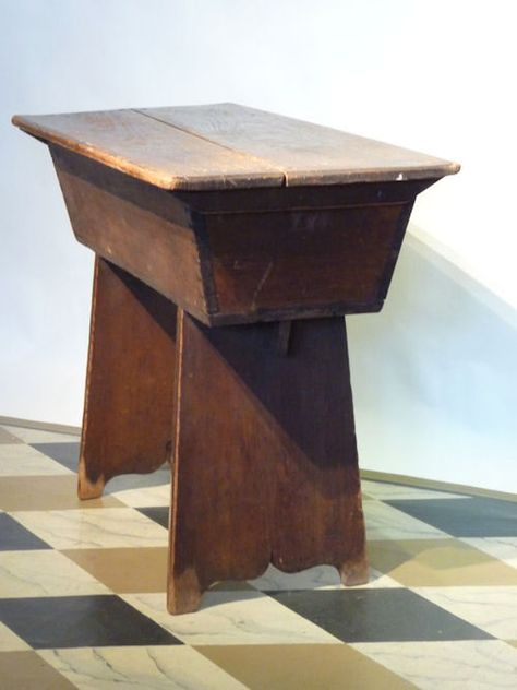 DOUGHBOX  New England , Early 19th c.   Charming proportions and small size - early 19th c. New England pine doughbox. Two board scrub top, canted, dovetailed and mortised box, side board ends with queen anne side cuts, great mop wear to bottom of feet. ~♥~