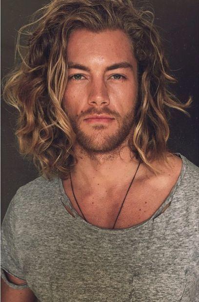 Hairstyle For Man Curly Long Style Model Derek Jaeschke Surfer Hair Long Hair Styles Men Mens Hairstyles